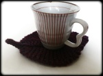 Hand knit leaf coaster and cup